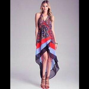 Bebe Hi Low Printed Halter Dress with Tie Neck